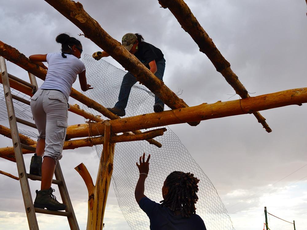 Building a shade arbor in Navajo Nation