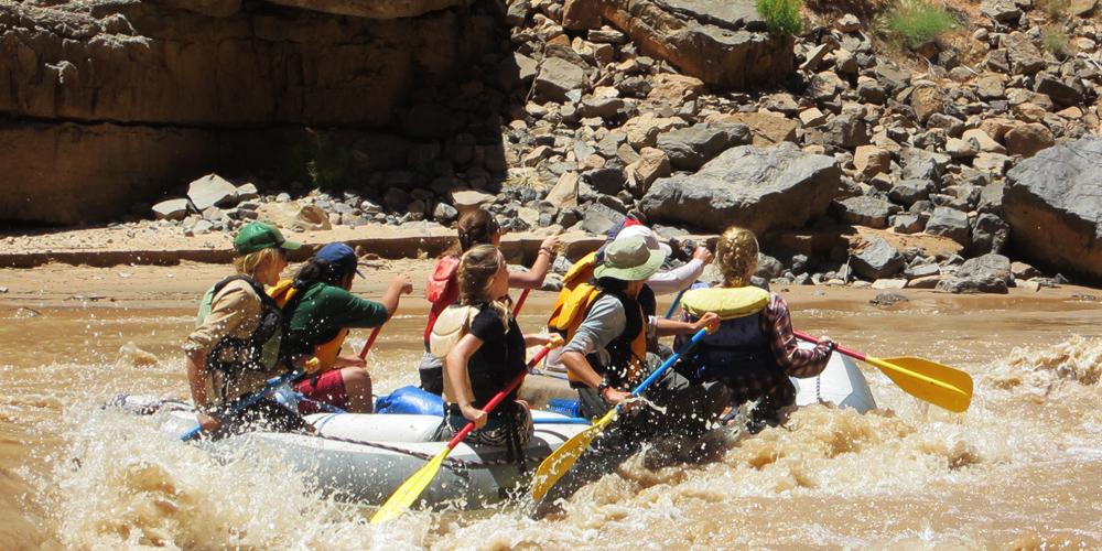 8th graders rafting the San Juan