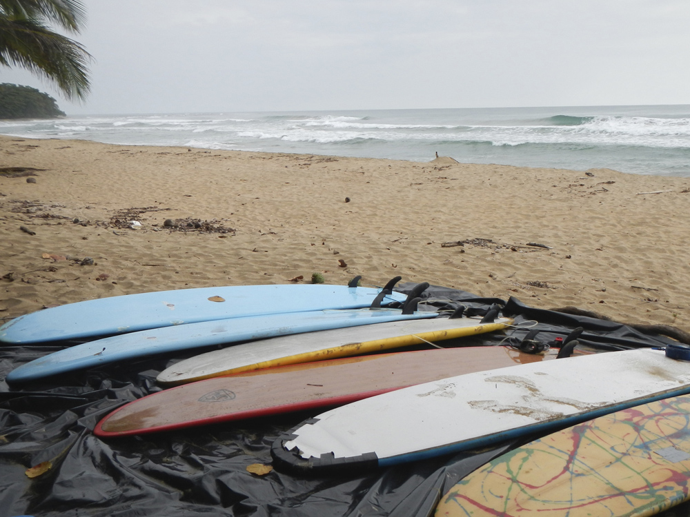 Surfboards on a beach in Costa Rica