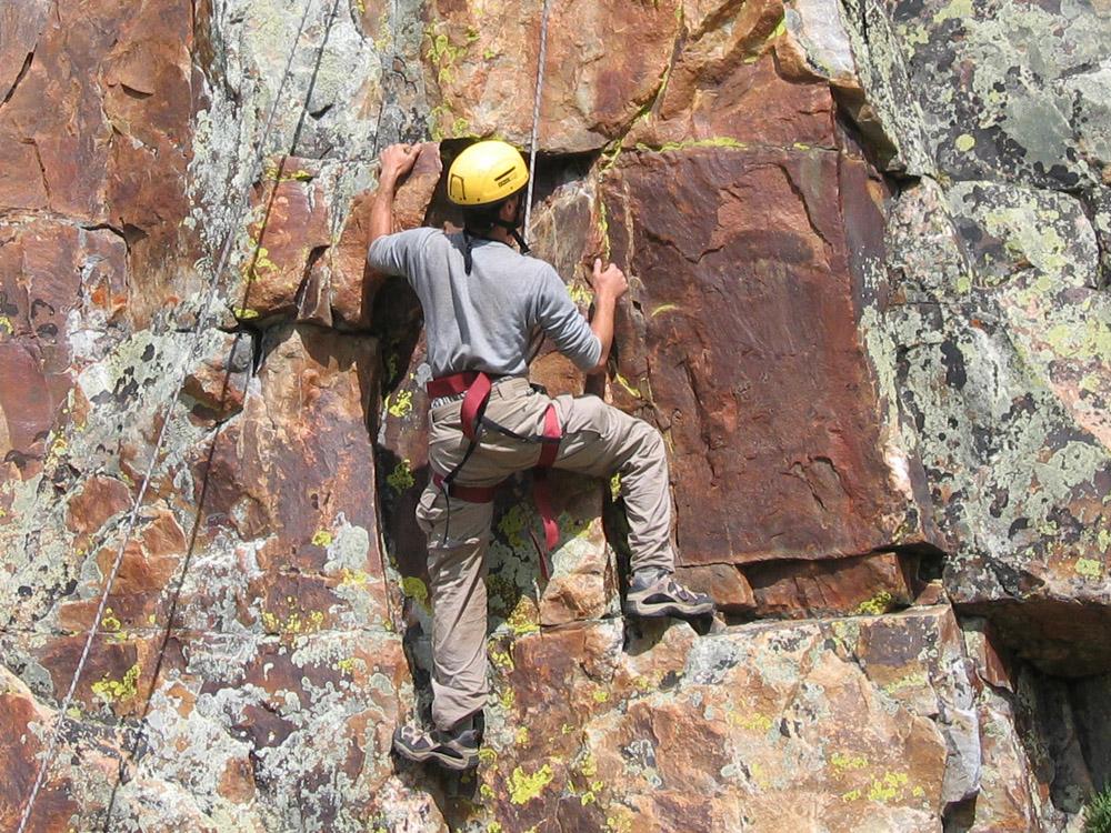 Participant rock climbing