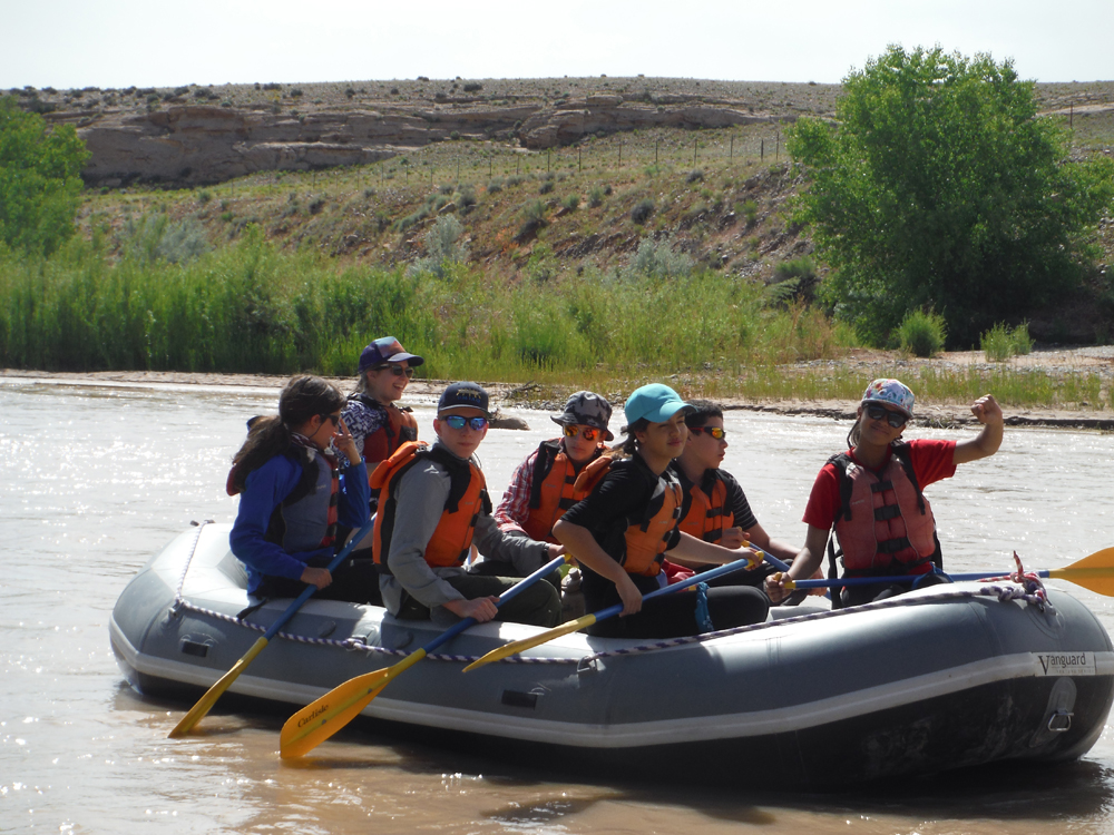 A school group embarks on their river trip with Deer Hill Expeditions