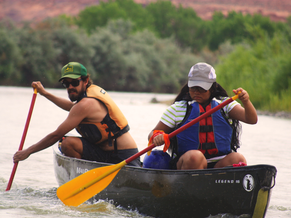 Participant and Instructor canoeing the San Juan River