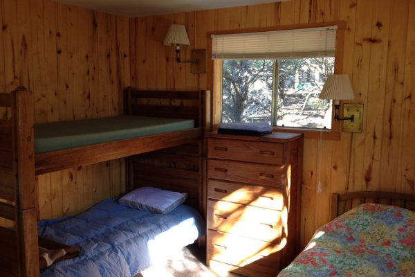 Bedroom in one of the guest cabins