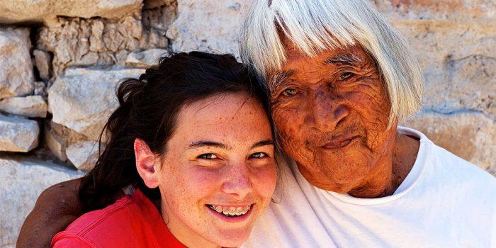 Hopi Elder with girl 1000x750