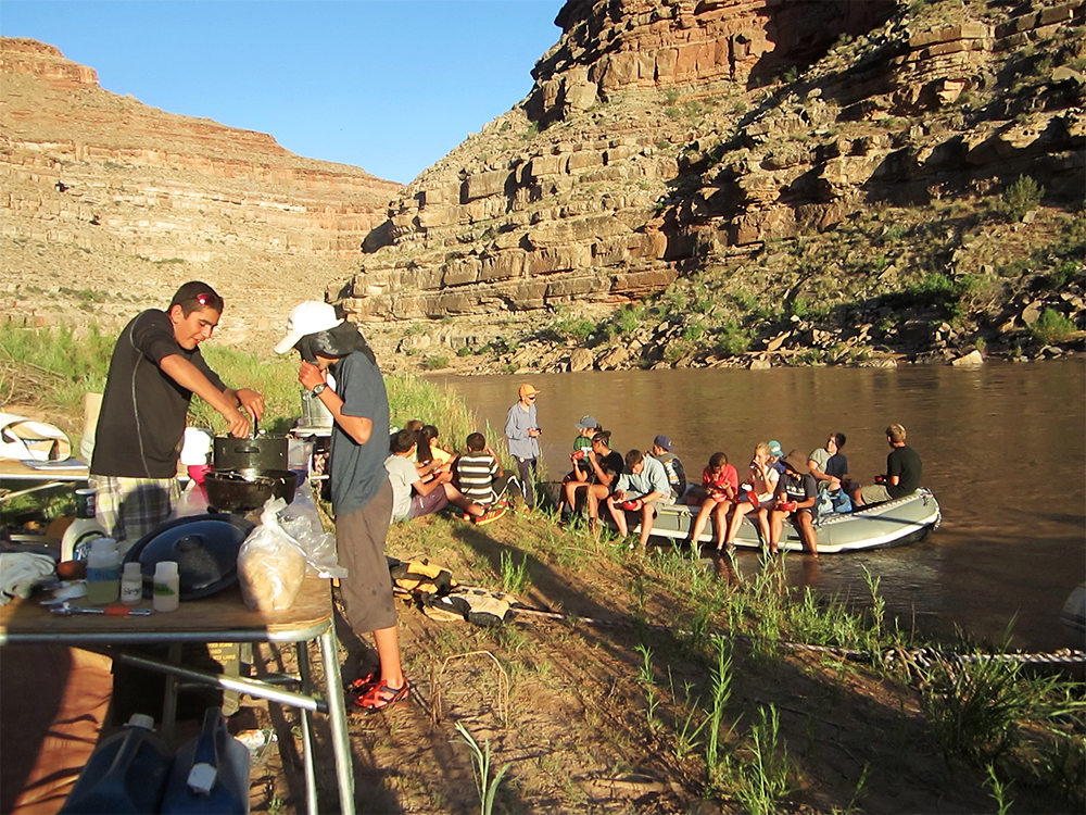 camp kitchen on river rafting trip