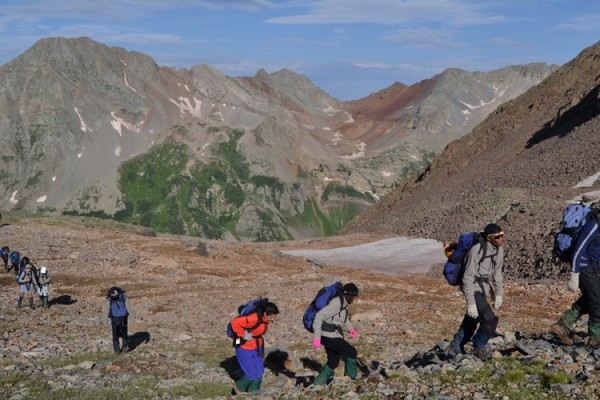 Summer Search group hiking to the summit of Rolling Mountain